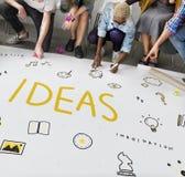 Ideen-Glühlampen-Musikanmerkung Sprache-Ikonen-Konzept Lizenzfreies Stockbild