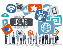 Ideeën het Creatieve Sociale Media Sociale Concept van de Voorzien van een netwerkvisie Royalty-vrije Stock Foto's