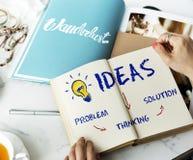 Ideen-Innovations-Glühlampen-Ikonen-Konzept Stockfotos