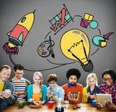 Ideen-Inspiration denken kreatives Forschungs-Konzept lizenzfreie stockfotos
