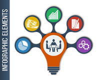 Ideen-Konzept-Plan für Teamwork und Brainstorming in der Form der Lampe Lizenzfreie Stockbilder