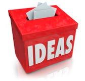 Ideen-kreativer Innovations-Vorschlags-Kasten, der Gedanken Ide sammelt Stockbild