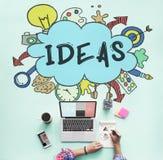 Ideen-Wolken-Birnen-Blasen-kreatives grafisches Konzept Lizenzfreie Stockbilder