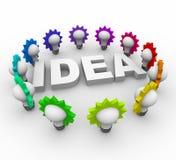Ideen-Wort umgeben durch Glühlampen Lizenzfreies Stockfoto