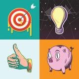 Ideen-Ziel-Einsparungens-Ziel-Anlagengeschäft-grafische Illustrations-Ikone stock abbildung