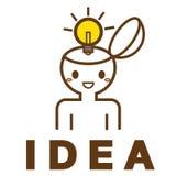 Ideenbirne im menschlichen Kopf Stockbild