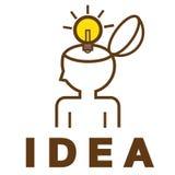 Ideenbirne in menschlicher Kopf Konzept Lizenzfreies Stockbild
