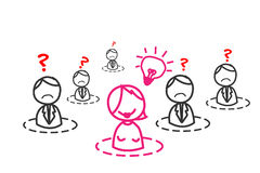 Ideenfrau im Geschäftsnetz Vektor Abbildung