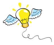 Ideenikone mit vectorial Fühler der Flügel Stockbilder
