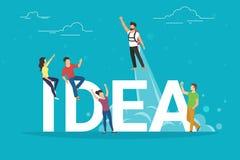 Ideenkonzeptillustration von den Geschäftsleuten, die als Team zusammenarbeiten Lizenzfreies Stockfoto