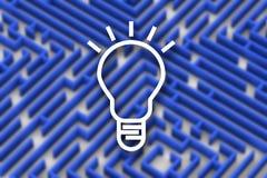 Ideenlampe auf blauem Farblabyrinthhintergrund Schließen Sie herauf Bild der Wiedergabe 3D Lizenzfreie Stockfotos