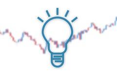 Ideenlampe auf Marktdiagrammhintergrund Abbildung 3D Lizenzfreies Stockfoto