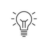 Ideenlampenlinie Ikone, Entwurfsvektorzeichen, lineares Artpiktogramm lokalisiert auf Weiß Symbol, Logoillustration Editable Ansc lizenzfreie abbildung