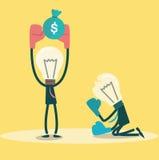 Ideensieger erhalten Geld Hammern asiatische Geschäftsmannverbeugung und -holding der Geschäftskonkurrenz concept Lizenzfreie Stockfotos