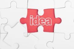 Ideentext auf Puzzlespiel Stockbild