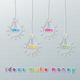 Ideenwährungsbirnen Stockfotos