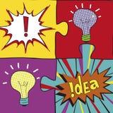 Ideeraadsels in Pop-artstijl Het creatieve het concepten van het gloeilampenidee ontwerp als achtergrond voor affiche flayer beha Stock Foto