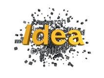 Ideewoord in wordcloud met een andere sleutelwoorden vector illustratie