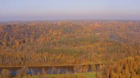 Ideia aérea bonita da manhã do outono dourado em Sigulda, Letónia video estoque