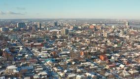 Ideia aérea da arquitetura da cidade do inverno na cidade de Dnipro filme