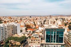 Ideia aérea da capital murada icónica, Nicosia da alta altitude em Chipre imagem de stock