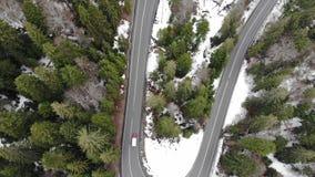 Ideia aérea da condução de carros na estrada na paisagem da floresta filme