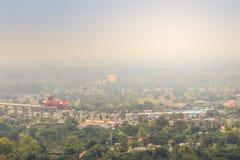 Ideia aérea da construção inferior do projeto novo do canteiro de obras da estrada, começada da província de Saraburi a Nakhon Ra imagem de stock royalty free