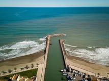 Ideia aérea da entrada de Saplaya portuário Alboraya perto de Valencia Spain fotografia de stock
