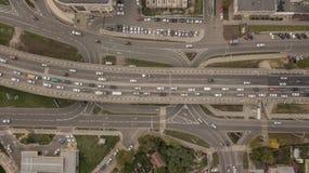 Ideia aérea da junção de estrada, interseções, estradas, pontes foto de stock royalty free
