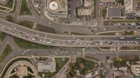 Ideia aérea da junção de estrada, interseções, estradas, pontes imagens de stock royalty free