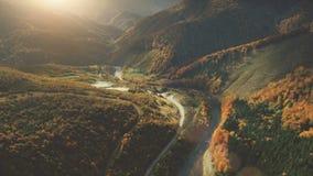 Ideia aérea da paisagem bonita da montanha do outono Imagem de Stock