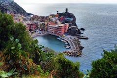 Ideia aérea da pesca de Vernazza, Cinque Terre National Park Imagens de Stock