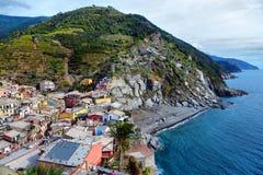 Ideia aérea da pesca de Vernazza, Cinque Terre National Park Fotos de Stock Royalty Free