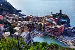 Ideia aérea da pesca de Vernazza, Cinque Terre National Park Imagem de Stock
