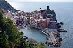 Ideia aérea da pesca de Vernazza, Cinque Terre National Park Imagem de Stock Royalty Free