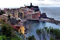 Ideia aérea da pesca de Vernazza, Cinque Terre National Park, Li Imagens de Stock Royalty Free