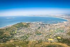 Ideia aérea da skyline de Cape Town do ponto de vista da vigia fotos de stock