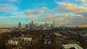 Ideia aérea da skyline de Charlotte NC video estoque
