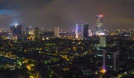 Ideia aérea da skyline urbana no crepúsculo Arquitetura da cidade de Hanoi Quarto de construção coletivo de Thanh Cong Fotografia de Stock Royalty Free