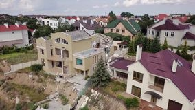 Ideia aérea das consequências do corrimento em Chernomorsk, Ucrânia vídeos de arquivo