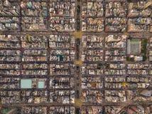 Ideia aérea das interseções ou das junções no logro Shui Po, Shek Kip Mei, Hong Kong Downtown Distrito financeiro e negócio imagem de stock