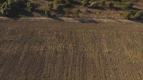 Ideia aérea de campos agrícolas nas montanhas com fundo do céu azul tiro imagens de stock