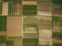 ideia aérea de campos agrícolas verdes com linha elétrica, Europa fotografia de stock royalty free