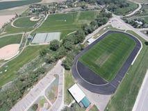 Ideia aérea de campos de esportes da High School de Niwot Foto de Stock Royalty Free
