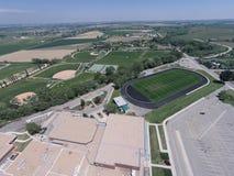 Ideia aérea de campos de esportes da High School de Niwot Fotografia de Stock Royalty Free