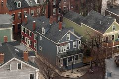 Ideia aérea de casas típicas de Boston Fotografia de Stock