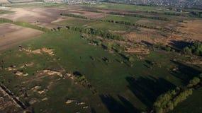 Ideia aérea de um campo de cima de na primavera imagens de stock royalty free