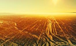 Ideia aérea de uma interseção maciça da estrada no LA Foto de Stock Royalty Free