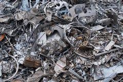 Ideia aérea de uma jarda da sucata com tipos diferentes de elementos de aço inoxidável Fotografia de Stock Royalty Free