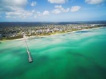 Ideia aérea do cais do Rosebud e do litoral, Melbourne, Austrália fotografia de stock